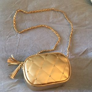 Vintage Gold Faux Leather crossbody bag